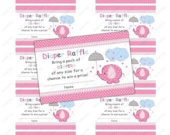 Umbrellaphant Elephant Baby shower diaper raffle ticket - instant download