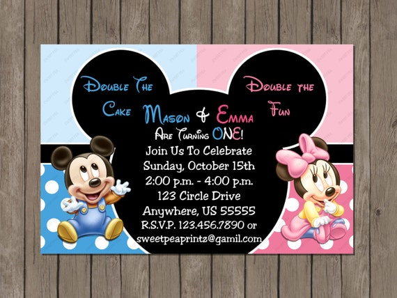 Twin Baby Mickey and Minnie Mouse Boy or Girl No Picture 1st