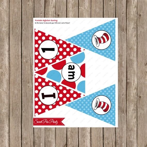 Cat Birthday Banner: Instant Download Dr Seuss Cat And The Hat 1st Birthday
