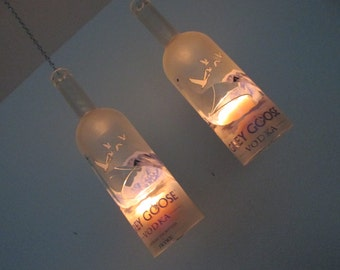 Upcycled Grey Goose bottle hurricane candle holder,  outdoor lighting, Recycled bottle Art, Hanging hurricane lamp