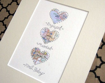 Map Art Wedding Gift : ... Anniversary or Wedding Gift - Map Hearts Wall Art - FREE SHIPPING