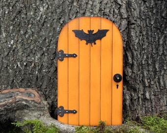Fairy Door fairy garden halloween miniature pumpkin orange with bat