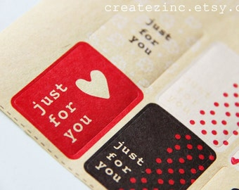 13 Just for You- Brown Kraft Style Paper Sticker Labels. Retro. Gift Wrapping. Product Labelling Seals. Eco Nature Theme. Brown and Red