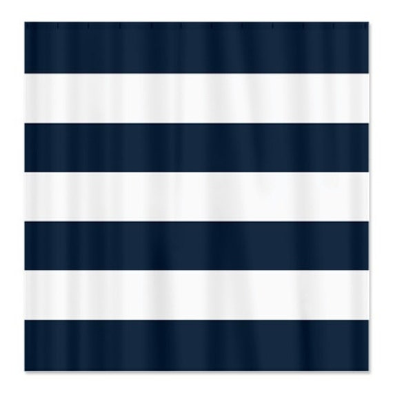 Large Striped Custom Shower Curtain Navy Blue And White