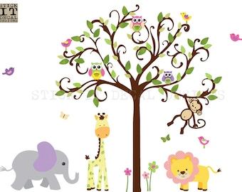 Jungle Wall Decal, Nursery Wall Decal, Scroll tree decal, Giraffe, Elephant, Girl Room Wall Decal, XXL Candy Dots Scroll Tree