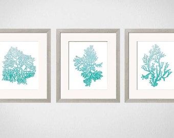 Turquoise Wall Art. Bathroom Art,  Bathroom Decor, Turquoise Wall Art, Bathroom Print Art, Bathroom Wall Art, Bedroom Wall Art, Set of 3