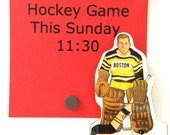 Retro Upcycled Vintage Table Hockey Player Fridge Magnet - Boston Bruins Goalie