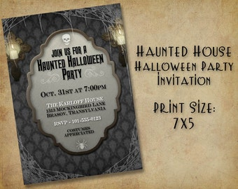Haunted House Halloween Party Invitation - (DIGITAL FILE ONLY)