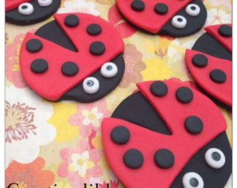 Edible Fondant Cupcake ,cookieTopper- Lady Bug cupcake toppers