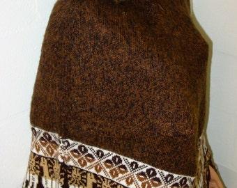 Peruvian 100% Alpaca Wool Poncho Cape Top Very Soft Brown