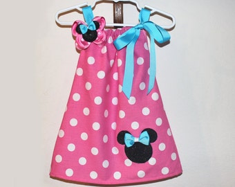 Turquoise and Pink Minnie Mouse Dress and Hair Bow Set
