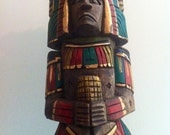 Vintage Totem Tiki Hand Carved Hand Painted Aztec