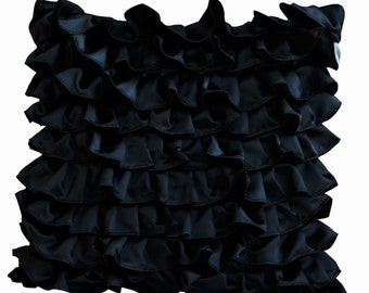 Decorative pillow in Black Satin with Ruffles- Decorative cushion cover - Ruffle throw pillow - Ruffle throw cushion - Gift pillow