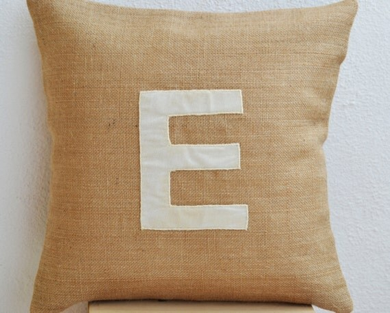 Burlap Throw Pillows Etsy : Items similar to Customized Monogram Throw Pillow, Burlap Pillow Cover, Ivory Velvet Monogram ...