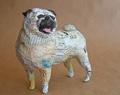 Pug, Unique Whimsical Paper Mache Dog Sculpture - Custom Pieces Available Upon Request