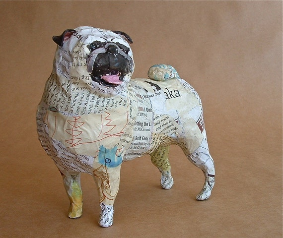 Pug unique whimsical paper mache dog sculpture custom for How to make a sculpture out of paper mache