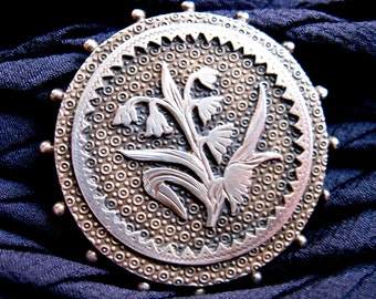1890s Pin/ Brooch w. Lilies of the Valley Design, Sterling Silver, Arts & Crafts School, V9ctorian Era, USA.