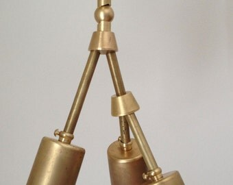"Modern brass ""Trio Mini"" chandelier - 3 Bulb - Number 2 MADE IN LA"