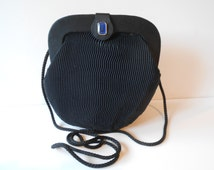 Black Evening Bag Vintage Clutch Handbag Blue Bead 1960s EB-0529