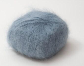 Vintage Angora yarn, dusky blue, Angora 70