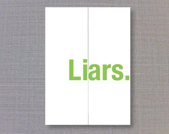 Liars - Funny Christmas Card - Foldout Greeting card