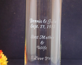 One Personalized   Glass Vase 10 x 3