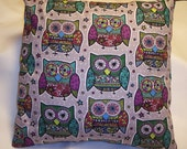 Decorative Pillow Cover, Throw pillow Cover Single 16 x 16 Funky Owls, Purple Mosaic Owls