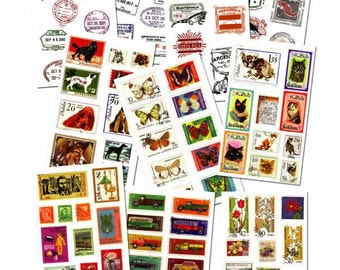 Sale Vintage Stamp Deco  Sticker-  - 10 Sheets