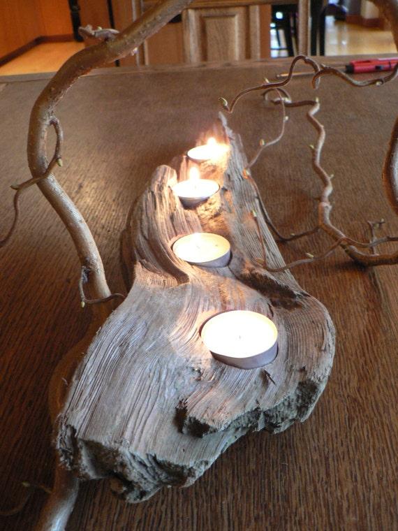 Driftwood art candle holder votive mantle piece