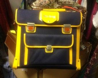 Large Blue & yellow Vintage Satchel with Original reflectors- Large Vintage Satchel - Bic Bag
