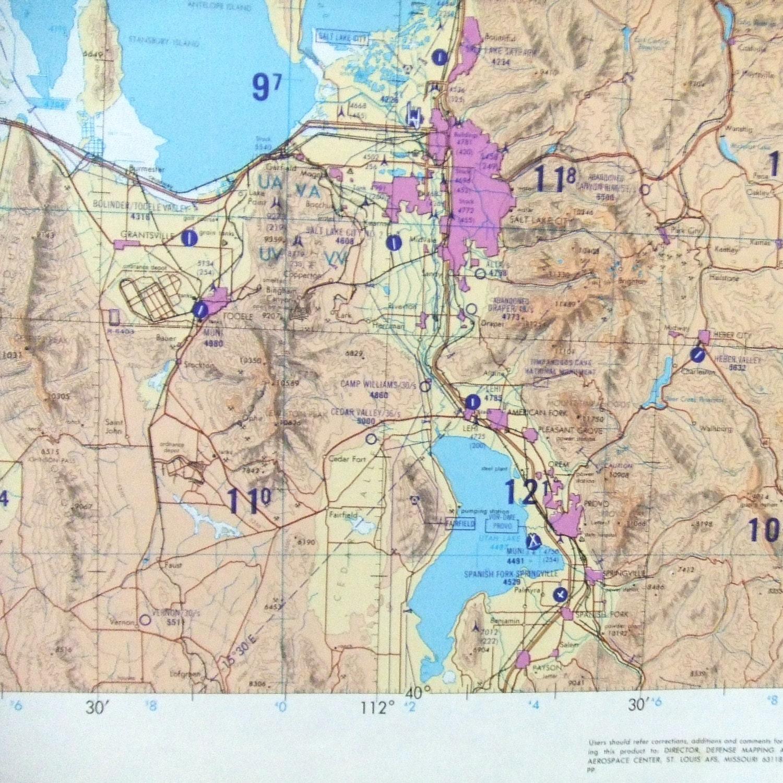 Huge Paper Map Aeronautical Utah Wyoming Idaho TPC F16C