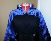 50% off  Blue Brocade Waist-length  Hooded Cloak