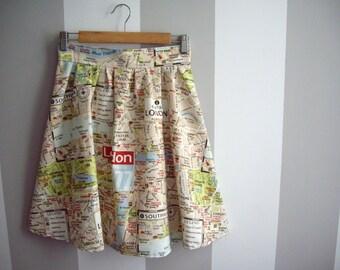 London Map Skirt, Printed Cotton Skirt, Map Skirt, Map Print, High Waisted Skirt, Made to Order