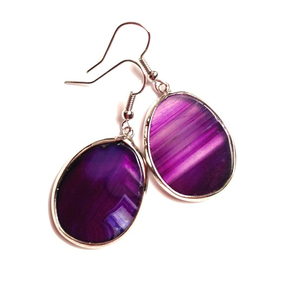 Purple Agate Earrings - Genuine, Oval-Shaped Stone Slabs, Silver Bezels, French Hooks, Beads, Plum Purple, White Swirls, Bridesmaid Jewelry