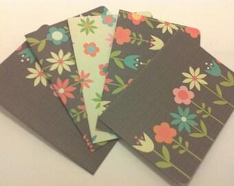blank note card set:  folksy flowers /set of 5