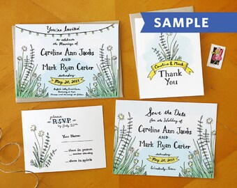 A Southern Romance: Hand Drawn Wedding and Hand Painted Wedding Invitation Suite Printed Sample - The Perfect Barn Invite or Rustic Invite