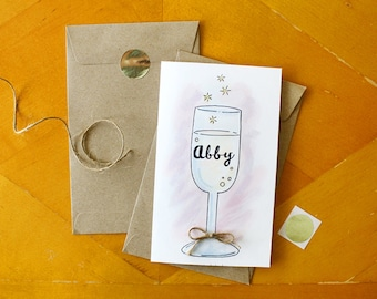 """Champagne Glass """"Will You Be My Bridesmaid"""" Card - Personalized Proposal Cheers Bridesmaid Card"""