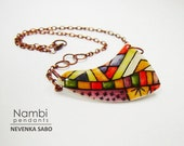 Colorful necklace, Polymer clay pendant, Statement necklace, Vibrant boho pendant, Copper necklace, Unique gift for her, Everyday jewelry
