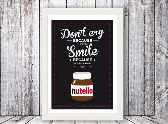Nutella italian kitchen art quote giclee art by shuffleprints for Italian kitchen prints