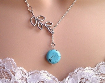 Turquoise Lariat Necklace, Leaf Lariat Necklace, Lariat Necklace, Gifts for Girls, Bridesmaid Gifts, UK Seller, BFF Gifts, Turquoise Jewelry
