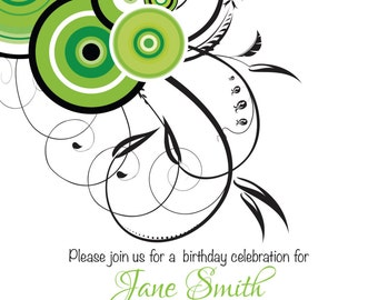 Green & Black Swirl Invite