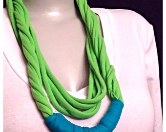Lime green and Teal Handmade Scarf using Recycled and Repurposed Clothing