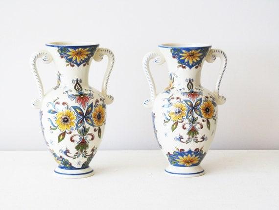 1970s 2 Ceramic Mantle Decoration/vase Bequet Delft Jema