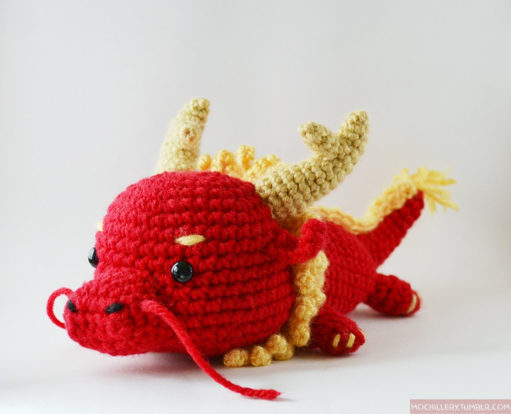 CUSTOM COLORS AVAIL.Dragon v.1 crochet amigurumi by mochillery