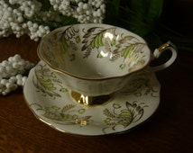 Vintage Art Nouveau Design Cup and Saucer Queen Anne Bone China England