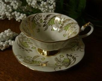 Vintage Art Nouveau Design Cup and Saucer Queen Anne Bone China England