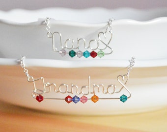 Mothers Day Grandma Necklace - Personalized Necklace with Birthstones