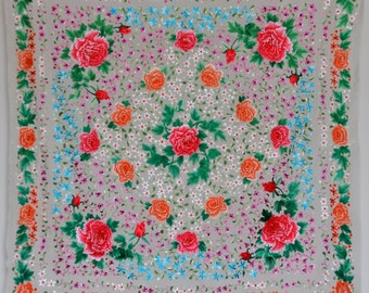 Collectable antique/vintage hand embroidered flowers peony silk piano shawl pieces