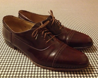 """1980's, Men's """"Marconi""""  shoes, in espresso leather, made in Italy by Bally, size 10 D"""