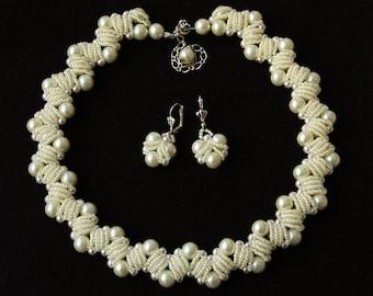 Bridal Set, Bridal Pearl Set, Wedding Pearl Necklace And Earring Set, Bridal Pearl Earrings, Bridal Pearl Necklace, Bridal Jewelry Set